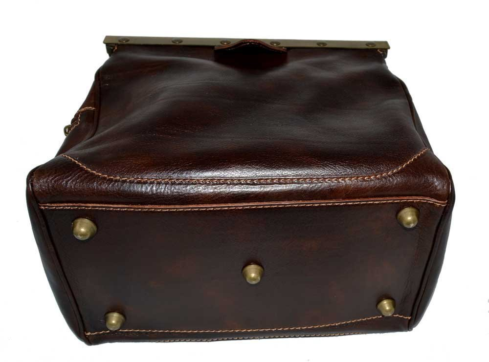 Ladies doctor bag leather handbag doctor bag handheld shoulder bag medical purse dark brown made in Italy - handmade-bags