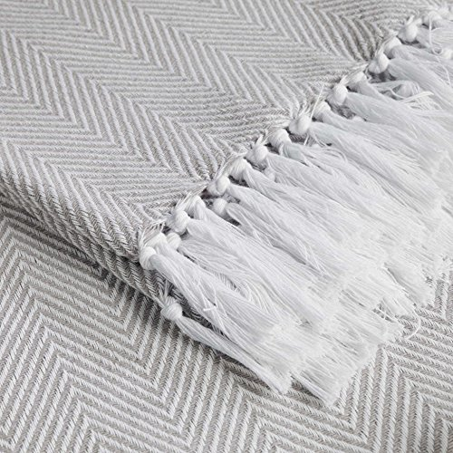 Charme und Douceur ENOA Sessel-Überwurf, Fransen Baumwolle gewebt 125x 150cm, Baumwolle, Taupe, 125x0.5x125 cm