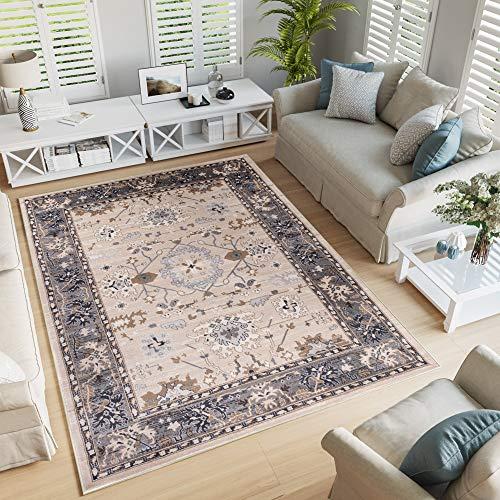 Tapiso tappeto salotto classico - colore beige chiaro foglia disegno persiano di inspirazione orientale - morbido - facile da pulire - prezzo economico 60 x 100 cm