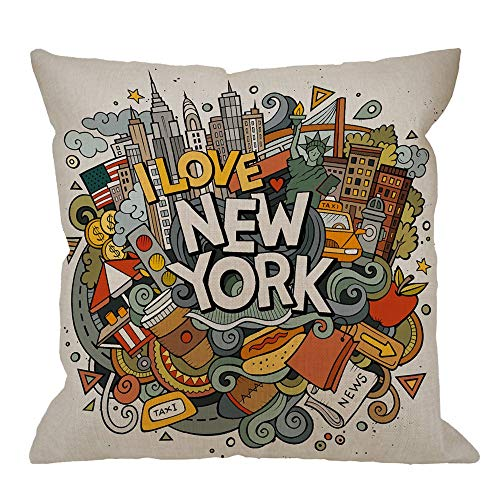 LongTrade 18x18inch New York Decorative Throw Pillow Cover Case,Cartoon Doodles Inscription American Pillow Cases Square Standard for Sofa Couch Bed Colorful Kissenbezug -