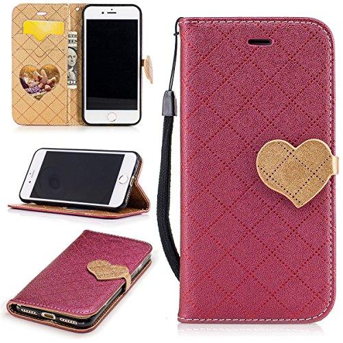 iPhone 7 Hülle, iPhone 7 Brieftasche, Lifetrut Grid & Heart Entworfen Magnetische Schützende Leder Flip Stand Brieftasche Hülle Case für iPhone 7 [Lila] E206-Rot