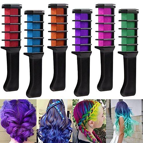 Rechoo 6 PCS Party Cosplay Haar Kreide Hair Färbe-Werkzeug Lange temporäre Shimmer Hair Color Creme Kamm