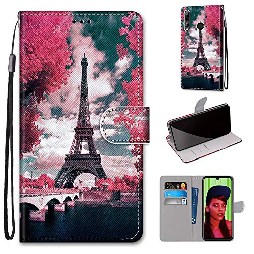 Miagon Flip PU Leder Schutzhülle für Huawei P Smart Z,Bunt Muster Hülle Brieftasche Case Cover Ständer mit Kartenfächer Trageschlaufe,Turm Blume
