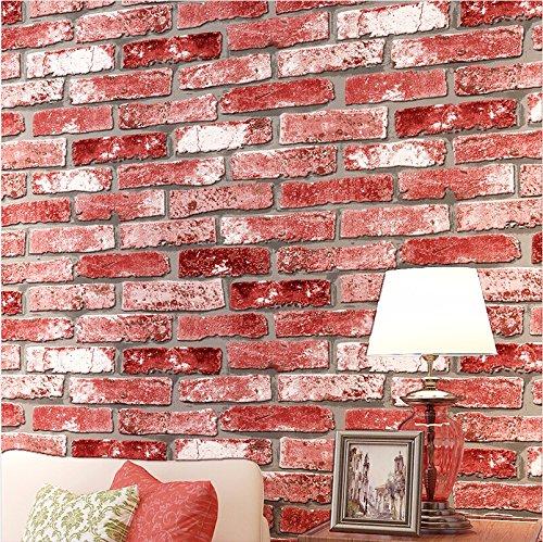 JSLCR Antike Backstein Muster Retro-Ziegel Restaurant Bar TV Hintergrund Wand Wallpaper Hintergrundbilder,Ziegelrot