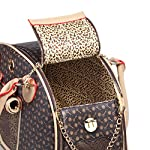BELLAMORE GIFT Large Faux Leather Brown Dog Travel Bag Cat,Dog,Rabbit,Puppy,Chihuahua Carrier Bag (Waterproof,breathable… 15