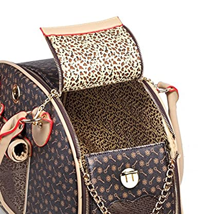 BELLAMORE GIFT Large Faux Leather Brown Dog Travel Bag Cat,Dog,Rabbit,Puppy,Chihuahua Carrier Bag (Waterproof,breathable… 7