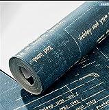 QXLML Tapete Retro Nostalgische Wind Tapete 3D Dunkelblau Englisch Brief Vlies Tapete Wohnzimmer TV-Hintergrundbild 10 * 0,53 (M) ( Color : Dark blue )