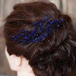 Handmadejewelrylady - Elegante tocado para novia, diseño floral con estrás de cristal de color azul