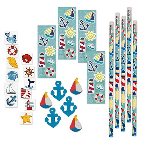 144 Piece Mega Nautical Toy Novelty Assortment; 12 Nautical Pencils, 12 Nautical Sticker Sheets; 48 Nautical Erasers And 72 Nautical Glitter Tattoos