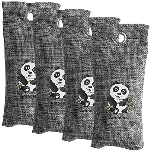 WHSIN Lufterfrischer mit Bambuskohle, Geruchsabsorber und Eliminator für Schuhe, Kohle, Auto, Schuhe und Badezimmer, 80 g grau -