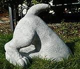 Beton Figur halber Hund H 27 cm Dekofigur und Gartenfigur