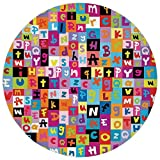Fevthmii Round Rug Mat Carpet,Abstract,Colored Alphabet Letters Pattern Education School Puzzle Children Graphic Print,Multicolor,Flannel Microfiber Non-Slip Soft Absorbent,for Kitchen Floor Bathroom