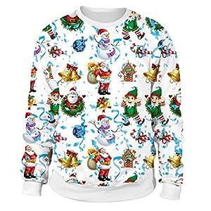 Damen Weihnachtspullover Rundhals Langarm Christmas Sweater Lustig 3D Weihnachtsmann Sweatshirt Neuheit Top