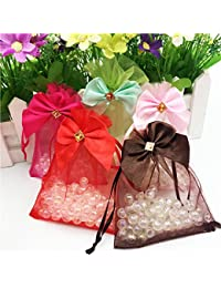 Generic Hot Pink : Bow Tie Drawable 9x12cm Small Organza Jewelry Gift Bags 20pcs Valentine's Day Organza Jewelry...