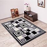 Alfombra De Salón Moderna – Color Negro Gris De Diseño Cuadrado – Suave – Fácil De Limpiar – Top Precio – Diferentes Dimensiones S-XXXL 200 x 300 cm