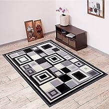 Alfombra De Salón Moderna – Color Negro Gris De Diseño Cuadrado – Suave – Fácil De Limpiar – Top Precio – Diferentes Dimensiones S-XXXL 140 x 200 cm