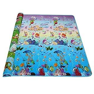 Arshiner Spielteppich 200x180 Spielmatte Kinderteppich zwei Seite für Innen / Außen Alphabet Tiere mit Automobil- und Meer