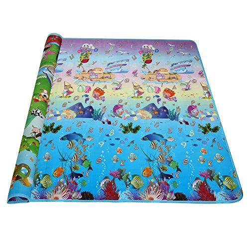 Arshiner tappeto bambino 200*180cm doppio lato con lettere numeri per il bambino ed i bambini, zoo e mare