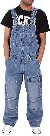 Men's Dungarees Fashion Jeans Rugged Denim Bib Overalls Adjustable Straps Multiple Pockets