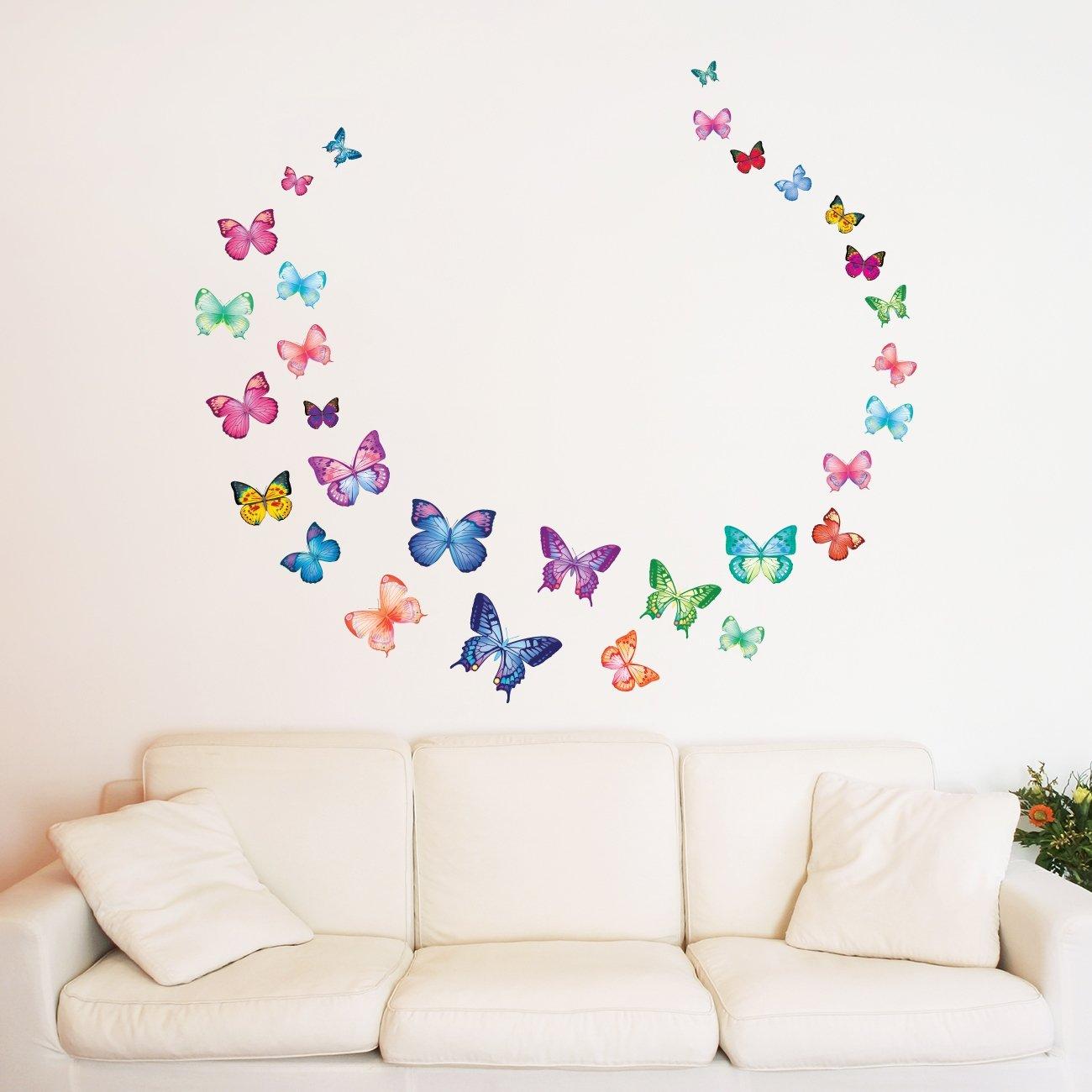 Decowall DW-1302 30 Papillons Vibrant Autocollants Muraux Mural Stickers Chambre Enfants B/éb/é Garderie Salon