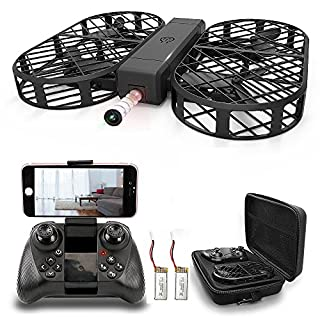 D7 Folding Drone with Camera WiFi FPV Drone Live Transmission 720P Wide Angle Car Camera APP Control Floating G-Sensor Headless Mode RC Quadcopter for All Levels Pilot, 2 Batteries, Grid Protective