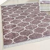 mynes Home Waschbarer Teppich Braun marrokanisches Design mit Anti-Rutsch Rücken Fransenteppich meliert für Küche & Bad Wohnzimmer Modern (80cm x 150cm)