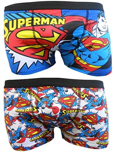 Superman Herren Boxer Trunks Zwei Pack - L (Boxer Baumwolle Superman)