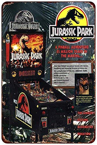 qidushop Jurassic Park Vintage Pinball Machine AD Reproduktion Retro Metall Wand Decor Art Shop Man Cave Bar Garage Aluminium 20 x 30 cm Schild -
