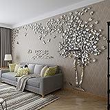 Kenmont DIY 3D Riesig Paar Baum Wandtattoos Wandaufkleber Kristall Acryl Wandtattoo Aufkleber Vögel Vine Zweig Wandkunst Wohnzimmer Schlafzimmer Kinderzimmer Sticker (X-Large, Silber, Links)