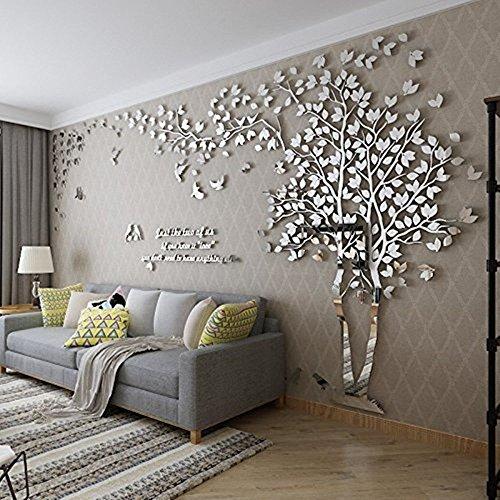 3D Riesige Paar Baum DIY Wandaufkleber Kristall Acryl Wandtattoos Wandmalereien Kinderzimmer Wohnzimmer Schlafzimmer TV Hintergrund Home Dekorationen Kunst (Silber-Rechts, S) -