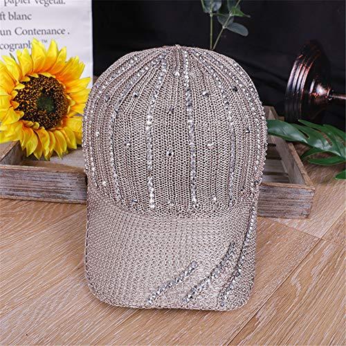 sdssup Hut weibliche koreanische Version der Flut Sommer Neue Hohle Strickmütze Damen Diamant Strass Baseball Mode Hut hat 卡其 色 可