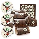 24 kleine Geschenkschachteln Geschenk-Boxen Kartons 14,5 x 10,5 cm + 3 cm hoch Holz Optik braun + Aufkleber Adventskalenderzahlen