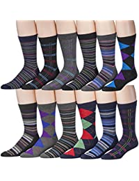 12 Pairs Of excell Men's Designer Cotton Blend Mix Patterns Dress Socks, # 2600
