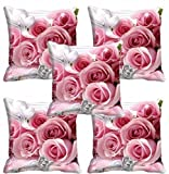 #7: meSleep Pink Rose Cushion Cover (16X16) Set of 5