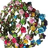 10X Toruiwa Braut Haarband Stirnband Haarkranz Blumenkrone Garland mit Blumen für Hochzeit Parteien Zufällige Farbe