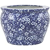 Traditional Blossom Pattern Fish Bowl Planter In Shades Of Blue
