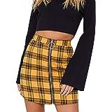 Faldas a Cuadros de Mujer Cintura Alta Cremallera a Cuadros Cintura Alta Slim Cadera Minifalda Minifalda Minifalda Faldas Cor