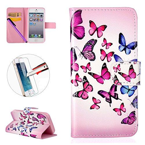 iPhone 55S se étui portefeuille en cuir pour livre, newstars Design léger PU en relief Touch Téléphone Mobile Housses Protège la peau étui en cuir pour iPhone 5/5S/5C/SE avec béquille carte fentes P papillon rose