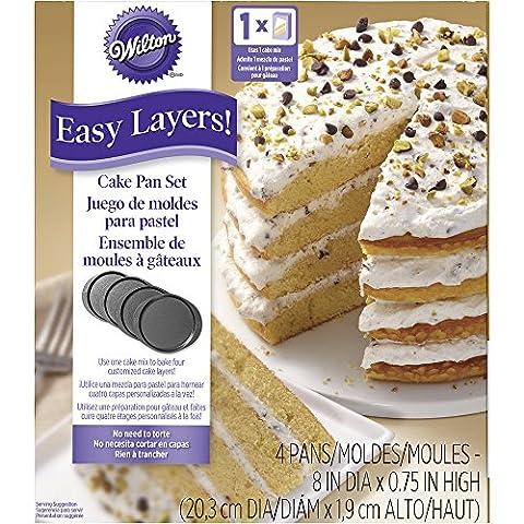 Wilton 20.32 cm Easy Layers Round Cake Tins, Silver, Set of (Torta Di Quattro Strati)