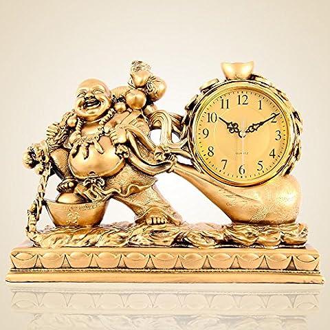BBSLT Horloge de richesse de Maitreya, salon Feng Shui boutique de cloches, horloge antique de style européen, ornements lorsque horloges horloge murale , A