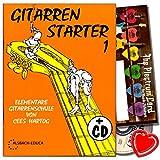 Gitarren Starter 1 - Gitarrenschule für Anfänger von Cees Hartog mit CD, Plektrum Set, herzförmiger Notenklammer - als Geschenkidee hervorragend geeignet !