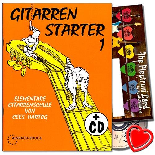 E-starter-gitarre (Gitarren Starter 1 - Gitarrenschule für Anfänger von Cees Hartog mit CD, Plektrum Set, herzförmiger Notenklammer - als Geschenkidee hervorragend geeignet !)