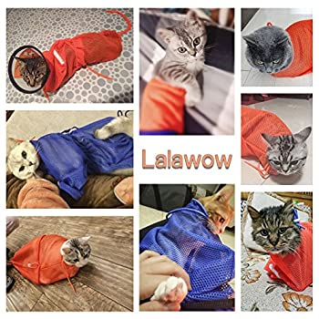 Lalawow Sac Toilettage Pour Chat Rechargement Ajustable Pour Mordre Ongles Injection (Orange)