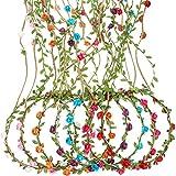 TecUnite 7 Stücke Mehrfarbig Blumen Krone Blumenkranz Stirnband Floral Garland Stirnbänder für Festival Hochzeit