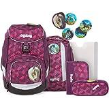 ergobag Unisex-Kinder Pack-Set Rucksack, NachtschwärmBär, Ergonomischer Schulrucksack, Set 6-teilig, 20 Liter, Lila Blumen, S