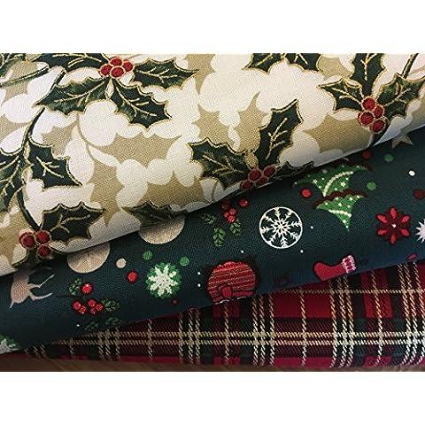 El arte de conexiones retales de tartán, HOLLY y árboles de Navidad smartphonez 100% manualidades festivas de tela de algodón que acolcha