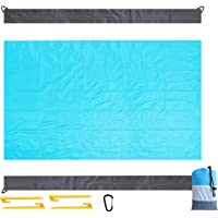 Beach Mat Picnic Blanket Outdoor, Large 210 x 200cm Waterproof Sandproof Picnic Beach Blanket with 4 Fixed Nails Portable Pocket Zippered Washable Beach Matts for Beach Park Camping Travel Hiking