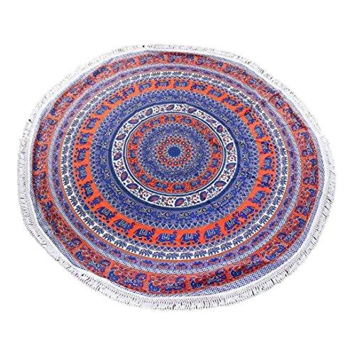 Koly_Turno Hippie Tapestry Beach Buttare Roundie Mandala asciugamani Yoga Mat (C)