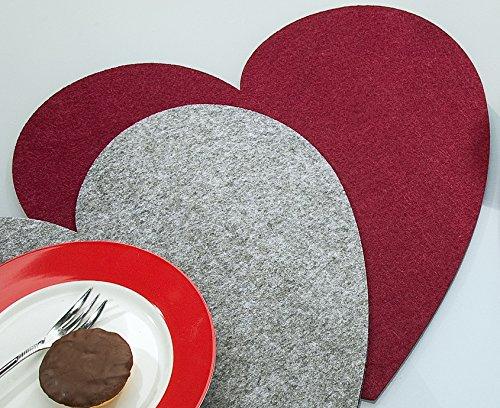 Gilde feltro sottobicchiere cuore san valentino, grande, diametro 40cm-set di 4tovagliette feltro rosso bordeaux