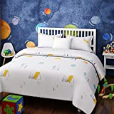 Urban Dream Kids Camp in A Jungle Print White and Yellow BEDSHEET Set (Single Bed)